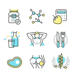 Nutrition and health care icons vector