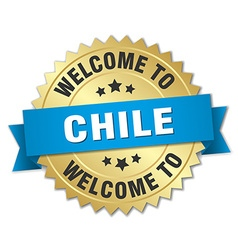 Chile 3d gold badge with blue ribbon vector