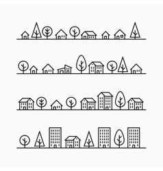 Outline buildings and trees in line 4 different vector