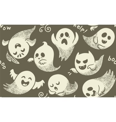 Seamless pattern of cute cartoon ghosts with vector