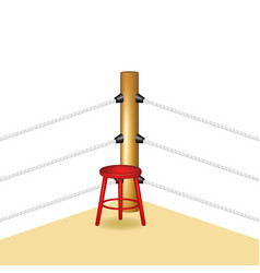 Boxing corner with red wooden stool vector