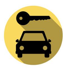 Car key simplistic sign flat black icon vector