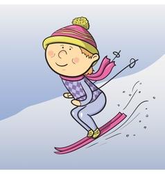 cartoon skier vector image vector image