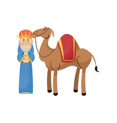 Christmas wise king with camel traditional vector