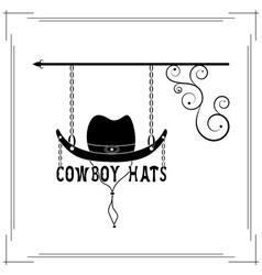 Cowboy hats single signboard vector