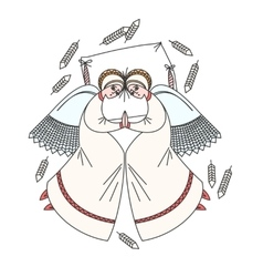 Cute scene with angels on the pillow white vector