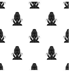 Face washing icon in black style isolated on white vector
