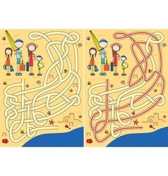 Family maze vector image vector image