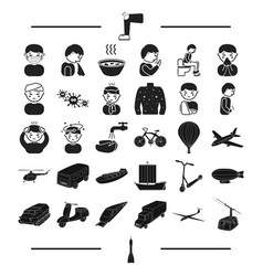 Ground travel treatment and other web icon in vector