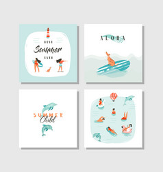 Hand drawn abstract cartoon summer time fun vector