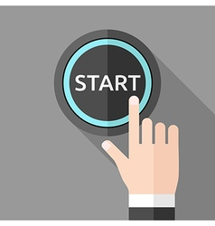 Hand pushing start button vector image
