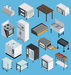 kitchen equipment isometric icons set vector image vector image