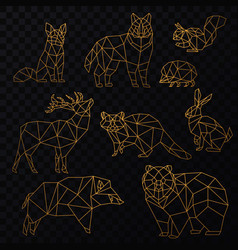 Low poly cgolden line animals set origami vector