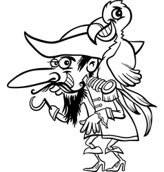 pirate with parrot for coloring book vector image vector image