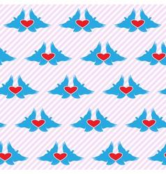 Romantic love symbol with bird heart seamless vector image vector image