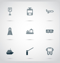 Shipping icons set collection of vehicle railway vector