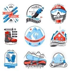 Ski resort emblems set vector