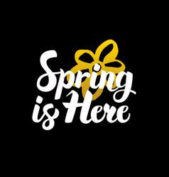 Spring is here handwritten calligraphy vector