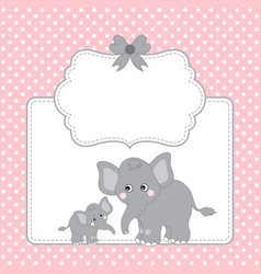 template card with cute elephants vector image vector image