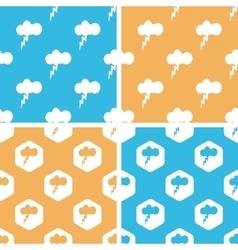 Thunderbolt pattern set colored vector