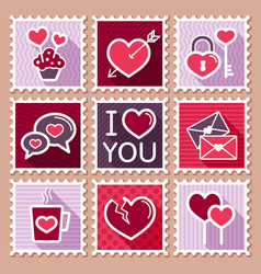 Valentines day postage stamps vector