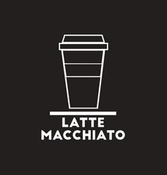 White icon on black background latte vector