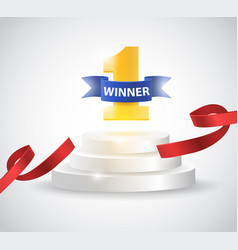 winner background with red ribbon on round vector image