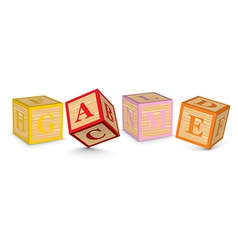 Word GAME written with alphabet blocks vector image vector image
