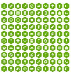 100 meal icons hexagon green vector