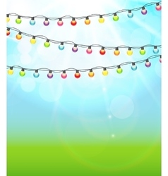 Multicolored garland lamp bulbs festive on natural vector