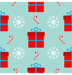 Christmas gift box with bow snowflake red and vector