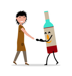 Cartoon young adult woman bottle alcohol vector
