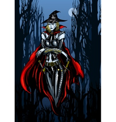 Witch in a dreary october vector
