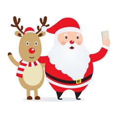 christmas selfie santa claus with a deer vector image