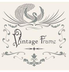 Vintage frame with stylized bird vector image