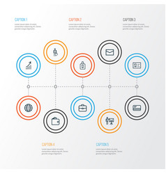 Trade outline icons set collection of global vector