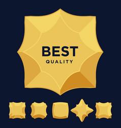 Gold star medal award best quality flat design set vector