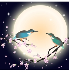 Background with cherry blossom and a couple bird vector