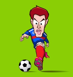 Blue shirt control football cartoon vector