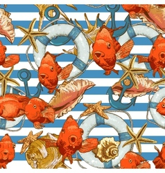 Seamless background with sea shells and fish vector