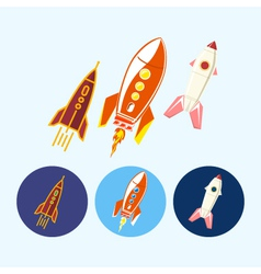 Set icons with spaceships rockets vector