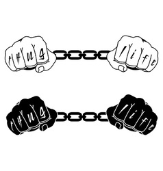 Male hands in steel handcuffs with thug life vector