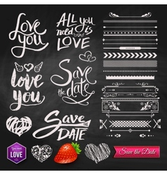 Love phrases borders and symbols on chalkboard vector