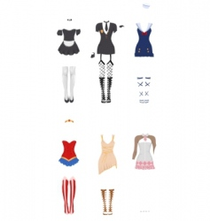 Female carnival costumes vector