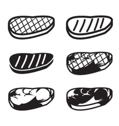 Set of grilled meat icon vector