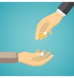 Hand giving golden coin to another hand vector