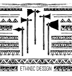 Pattern with american indian axes and tomahawks vector