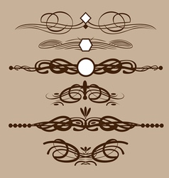 Abstract brown floral shape frames set in outline vector