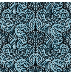 Ethnic handmade decorative blue seamless pattern vector