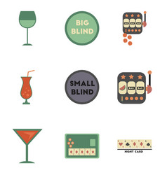 Assembly flat icons casino poker game vector